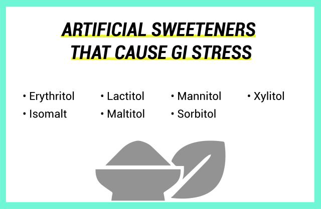 Liste der künstlichen Süßstoffe, die GI-Stress verursachen