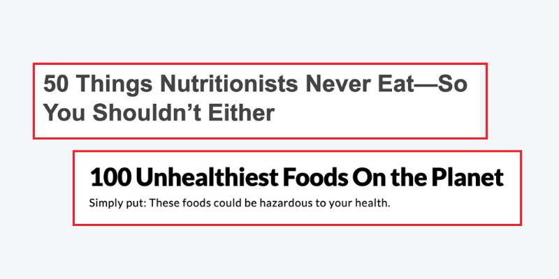 Schlagzeilen über Lebensmittelhassartikel