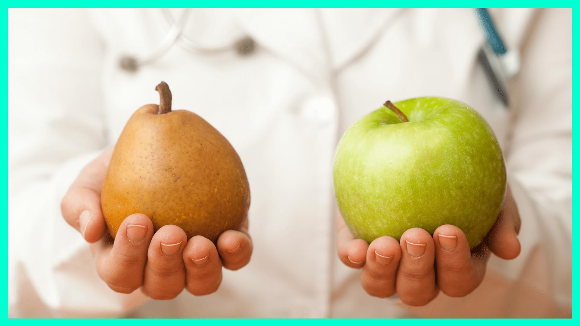 Birne gegen Apfel